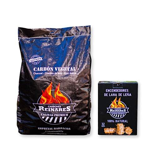 Carbon Vegetal Barbacoa Natural sin Humo carbones para barbacoas Alto Poder calorifico (Carbón Vegetal + Encendedores, 1 Saco + Caja 32 Encendedores)