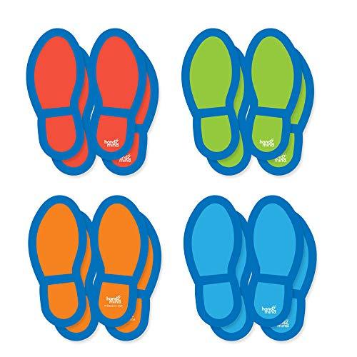 Adhesivos para el suelo con huellas indicadoras para mantener la distancia de seguridad de Learning Resources, 16 unidades,impermeables y lavables, para usar en interior y exterior