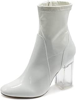 Ollio Women's Shoe Enamel or Faux Suede Side Zip Up Clear High Heel Ankle Boots
