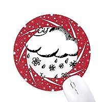 雪片の曇りのハンドペイントパターン 円形滑りゴムの赤のホイールパッド