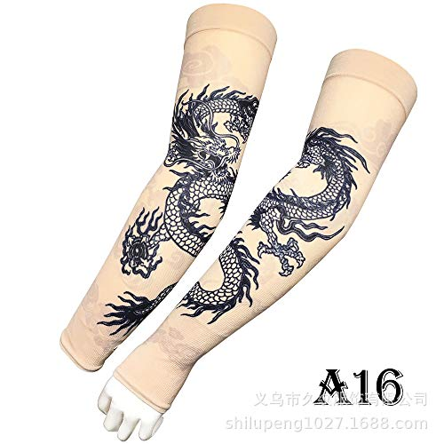 tzxdbh Tattoo Ice Sleeve 360 Graden Digitale Print Outdoor Sport Rijden Zonnebrandcrème Tattoo Sleeve Straight A16 Black Drago