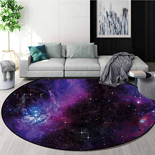 Affordable RUGSMAT Space Modern Machine Washable Round Bath Mat,Nebula Dark Galaxy with Luminous Sta...