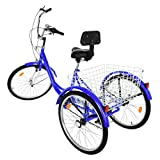 Adult Tricycles, Tricycle Bike 7 Speed 24-inch Three Wheel Bike, 3-Wheel Cruiser Trike with Low-Step Through Frame & Large Basket & Adjustable Seat for Adults, Men, Women (Blue)