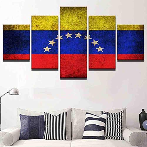 GIAOGE Hd druk canvas moderne lijst 5 panelen Venezuela vlag muurkunst schilderijen vintage decoratie modulaire poster mit gerahmten 20x35 20x45 20x55 cm