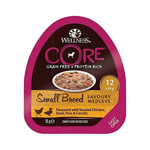 Wellness CORE Small Breed Savoury Medleys, Hundefutter nass getreidefrei für kleine Rassen, hoher Fleischanteil, Huhn, Ente, Erbsen und Möhren, 12 x 85 g Schalen