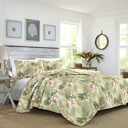 Tommy Bahama Topical Orchid Collection Quilt Set-100% Cotton, Reversible, Perfect for All Seasons, Pre-Washed for Added Softness, King, Green