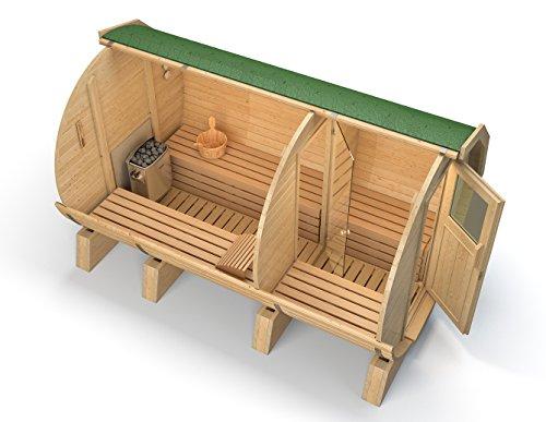 Barrel Sauna van Isidor, Tuin Sauna M3 Premium 3.60 meter, Met Ante-kamer, Aspen Sauna Hout Voor Alle Interne Banken grüne Dachschindeln