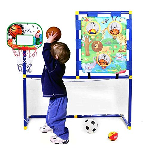 FXQIN Red de portería de fútbol Basketball Hoop con Bomba de Bola Aro de Baloncesto y fútbol de Interior al Aire Libre 3 en 1 Soccer Goal Juguetes de práctica de Entrenamiento para niños