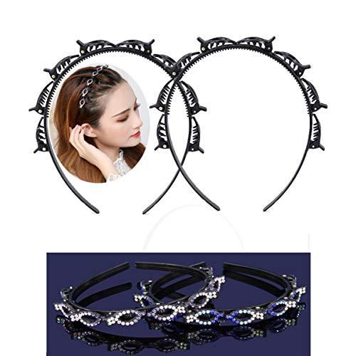 2Pcs Haarreif mit Klammern für Damen Mädchen, Frisurenhilfe Haarband mit Clips, Haar Styling Haarspangen,Haarhalter Haarschmuck Hairpin Kunststoff, Twist Clip Stirnband