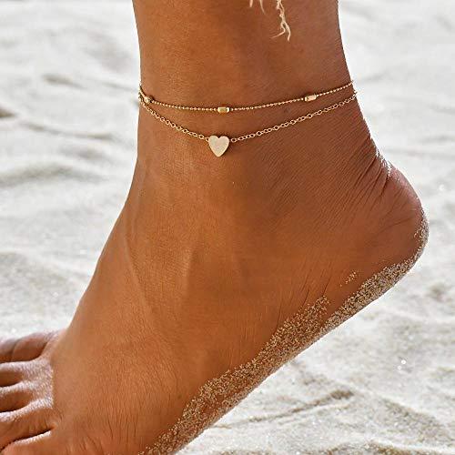 JEFEYI Fußkette Zweilagige Kette Herz Stil Gold/Silber Knöchelgelenk Damen Armband Sommer Barfuß Sandalen Schmuck Trekking-50198