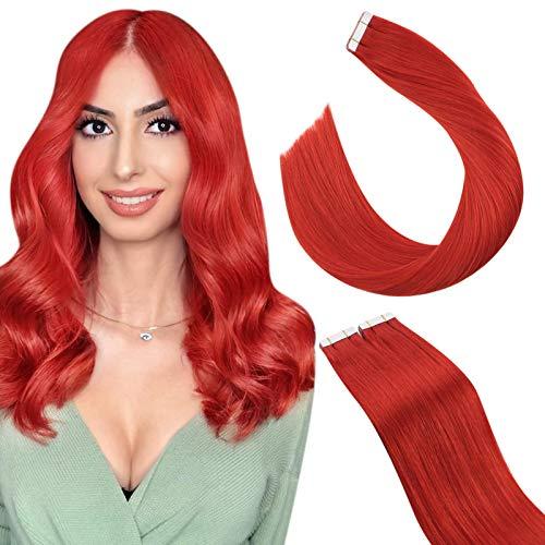Ugeat Extension Cheveux Naturel à Bande Adhesive Red 25GR/10PCS Extention Adhesif Cheveux Naturelles Rouge Remy Tape Hair Extensions Human Hair 50cm C