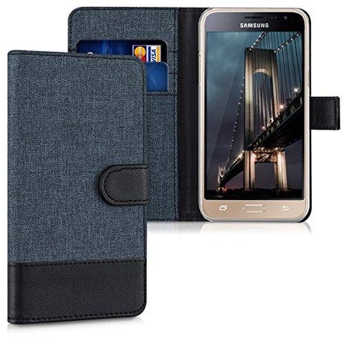kwmobile Wallet Hülle kompatibel mit Samsung Galaxy J3 (2016) DUOS - Hülle Kunstleder mit Kartenfächern Stand in Dunkelblau Schwarz