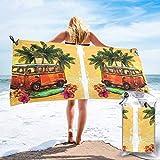 FLDONG Toalla de secado rápido Hippie Classic Old Bus con impresión de tabla de surf, microfibra ultra suave y compacta, adecuada para camping, gimnasio, playa, hogar 81.5 x 163 cm