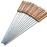 24 piques à brochette réutilisables en acier inoxydable et manche en bois, 30cm, piques torsadées - ensemble de 24 piques