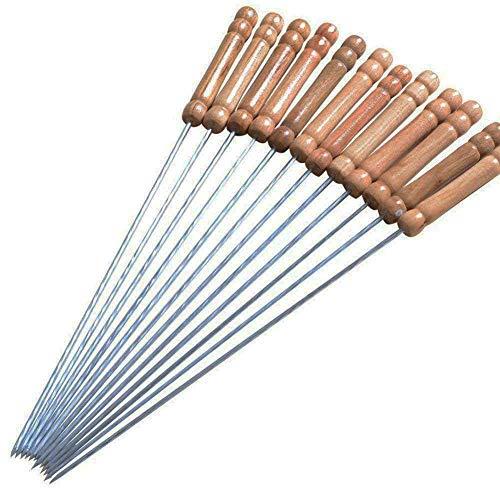 24 piques à brochette réutilisables en acier inoxydable et manche en bois, 30 cm, piques torsadées - ensemble de 24 piques