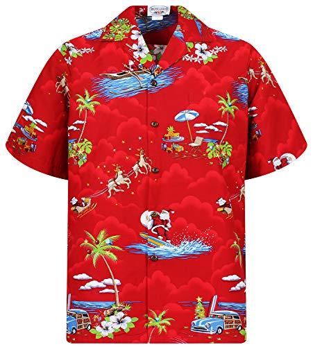 Lapa P.L.A. Original Camicia Hawaiana, Christmas Allover, Rosso, XL
