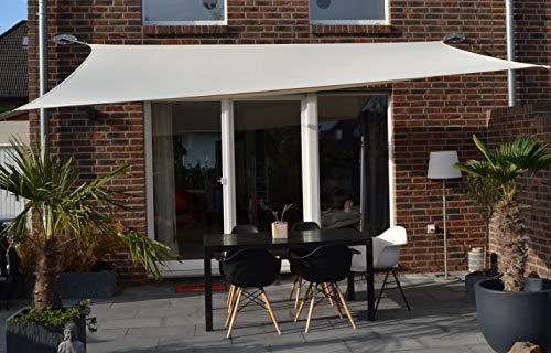 Floracord 06-77-07-48 Vierecksonnensegel mit Regenschutz 3 x 4 m inklusive Zubehör mit dauerelastischen Spanngurten, elfenbein
