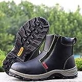 ZYFXZ Botas de tobillo para hombre Zapatos de trabajo impermeables Zapatos de cuero TOE TOE TOE Botas de seguridad con cremallera lateral Anti deslizamiento al aire libre Top Top Casual Botas para cam