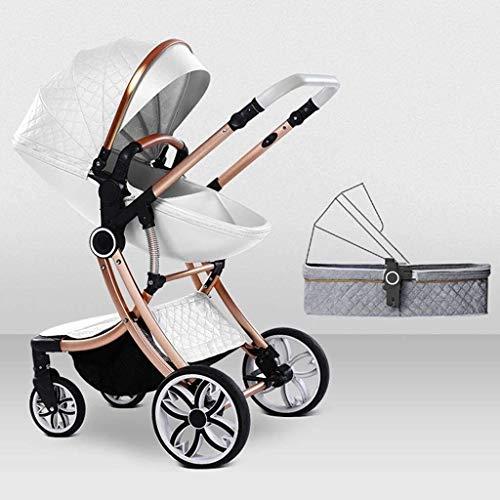 LOXZJYG Cochecito Jogger Cochecito Compacto Convertible Cochecito de Cochecito de Lujo, Carro de bebé de Aluminio, arnés de 5 Puntos y Canasta de Alto Almacenamiento (Color: Gris) (Color : Blanco)