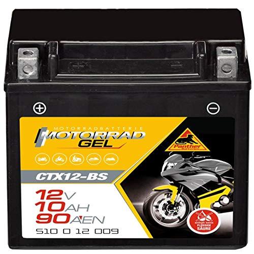 Panther GEL Batterie 12V 10Ah YTX12-BS Motorradbatterie DIN 51012 Quad CTX12-BS