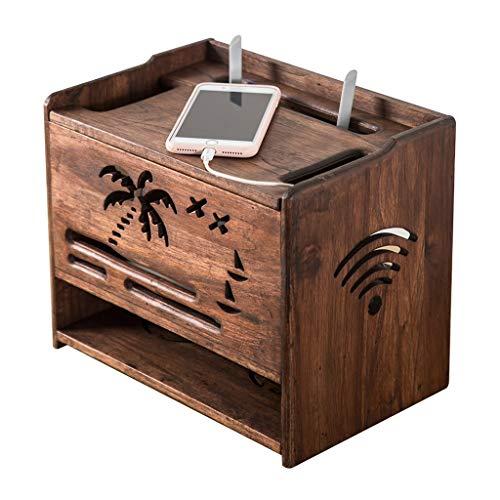 Caja de Almacenamiento WiFi Retro Rack de enrutador sin Perforaciones Decodificador de Pared de TV Caja de clasificación de Tira de Alambre (Color : Brown, Size : 32 * 22 * 27cm)