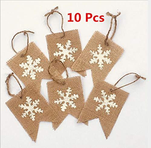 ECOSWAY 10 piezas de Navidad copos de nieve patrones decoración de fiesta cola de milano, banderas de arpillera de Navidad, fiesta familiar, aumento de la atmósfera, decoración de árbol de Navidad