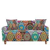 ASCV Funda de sofá elástica para Sala de Estar 3D Mandala de Flores étnicas Cojines Bohemios Fundas de Muebles de sillón universales A5 1 Plaza