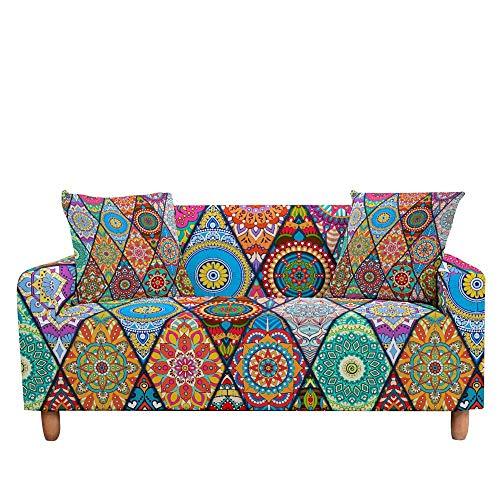 ASCV Funda de sofá elástica para Sala de Estar 3D Mandala de Flores étnicas Cojines Bohemios Fundas de Muebles de sillón Universal A5 2 plazas