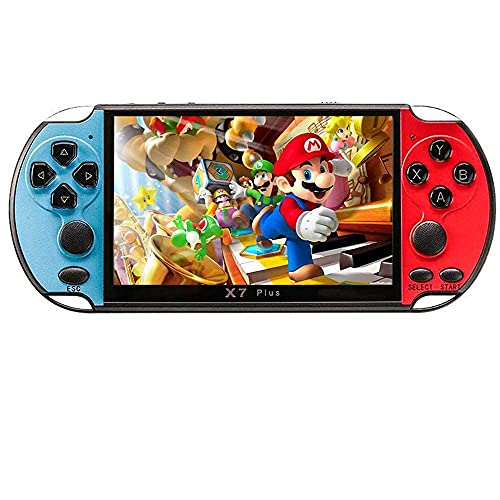 X7Plus 5.1-inch HD Screen 3000+ GBC/GBA/FC/Arcade Games Handheld Portable Game Console 8GB Capacity Movies/Video/Music/Game Player Kids Birthday Gifts Presents(Red&Blue)