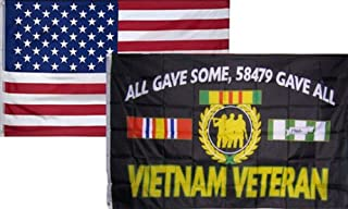 Moon 3x5 Wholesale Combo USA American & Vietnam Veterans All Gave Flag 3x5 2 Pack - Vivid Color and UV Fade Resistant - Prime Outside Garden Home Decor