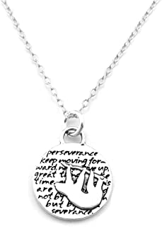 KEVIN N ANNA Sloth (Perseverance Quote) Sterling Silver Small Pendant Necklace, 18
