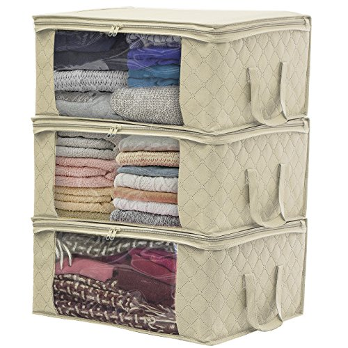 Sorbus Foldable Storage Bag Organizers, Large Clear Window & Carry Handles, Great for Clothes, Blankets, Closets, Bedrooms, and More (3-Pack, Beige)