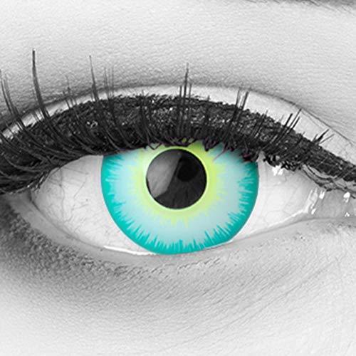 Funnylens 1 Paar farbige grüne weisse Crazy Fun Green Elf Jahres Kontaktlinsen perfekt zu Halloween, Karneval, Fasching oder Fasnacht mit gratis Kontaktlinsenbehälter ohne Stärke!