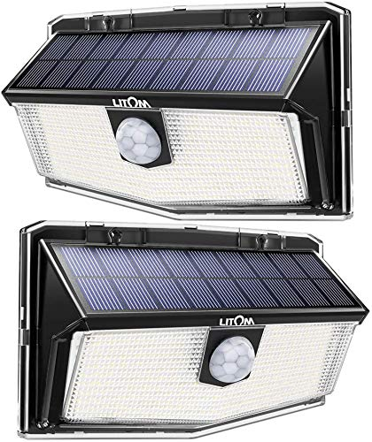 LITOM 160 LED Solar Motion Sensor Lights Outdoor, IP67 Waterproof Solar Powered Security Lights Wireless Solar Wall Lights with 3 Modes for Garden Patio Yard Deck Garage Fence Pool - Cold White 2 Pack
