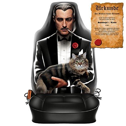 Witziger Sitzbezug fürs Auto mit hochwertigem Aufdruck - The Godfather - Im Set mit gratis Urkunde Spassvogel 1. Klasse
