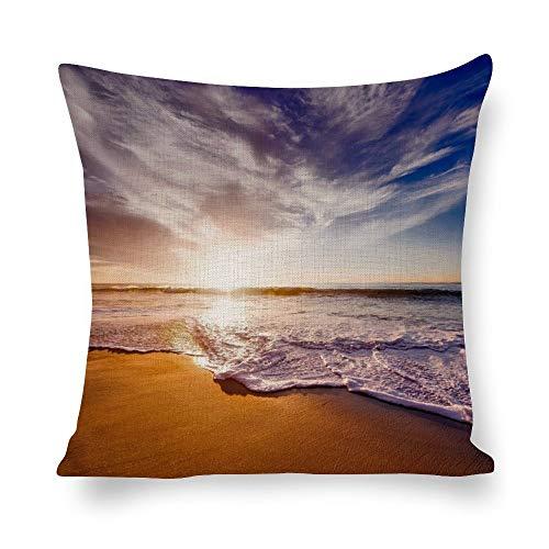 N/ A Fundas de almohada decorativas paisaje playa playa paisaje naturaleza paisaje paisaje paisaje paisaje atardecer fundas de cojín de lino impresión foto almohada para sofá de 16 x 16 pulgadas l7boo15sxqod