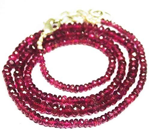 24 pollici lunga forma rondelle sfaccettato taglio naturale rubellite rosa tormalina 3-4 mm collana di perle con chiusura in argento sterling 925 per donne, ragazze unisex