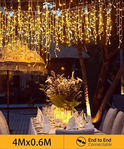 Quntis Erweiterbar 144 LED 4m×0,6m Lichtervorhang Eisregen Außen, IP44 Lichterkettenvorhang Warmweiß, Weihnachtsdeko Innen Fenster, Eiszapfen Regenlichterkette, Weihnachtsbeleuchtung Balkon Terrase