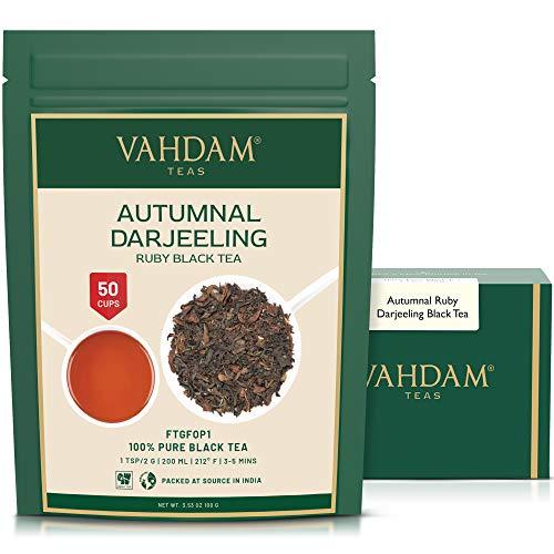 VAHDAM, Herbstlicher Ruby Darjeeling Tee (50 Tassen) | EXOTISCHER Darjeeling Tee Loose Leaf | HERBST SPÜLEN | 100% REINER UNVERGLEICHTER Schwarzer Tee | 100gr