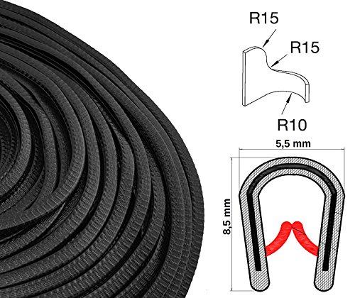 KS0-1S Kantenschutzprofil von SMI-Kantenschutzprofi - PVC Gummi Klemmprofil Kantenschutz - Schwarz - einfache Montage, selbstklemmend ohne Kleber Klemmbereich 0-1 mm (1 m)