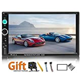 Double Din Car Stereo 7 Inch Touch Screen Headunit MP5 Player USB TF FM Radio Car Audio Receiver Bluetooth Support Backup Rear View Camera Mirror Link and Car Tuning Tools