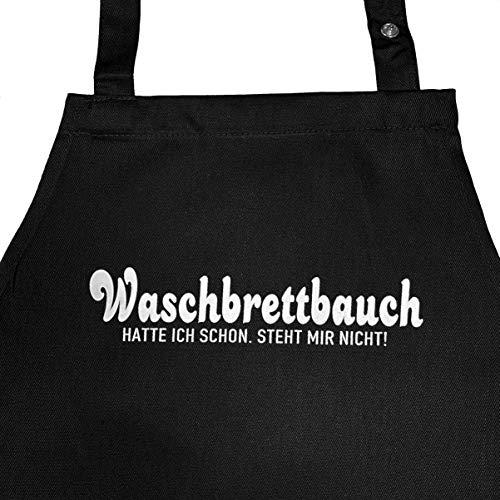 Waschbrettbauch - Kochschürze, Grillschürze mit verstellbarem Nackenband und Seitentasche