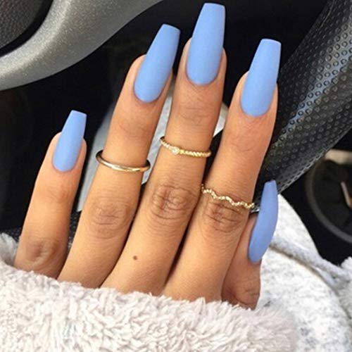 Twinklede Medium Coffin Press on Nails Blue Matte Ballerina Fake Nails Full Cover Acrylic False Nails for Women and Girls (24 PCS) (C Blue)