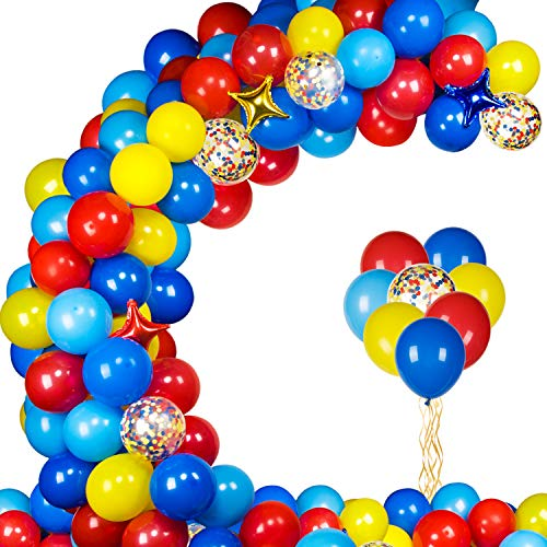 Carnival Circus Balloon Garland Kit with 103pcs Red Blue Yellow Latex Balloons Garland and Star Foil Balloons for Paw Birthday Party Carnival Circus Birthday Party