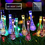 MZD8391 Solar String Lights, 30 LED Waterdrop String Lights, Waterproof Decorative String Lights for Patio, Garden, Gate, Yard, Party, Wedding (Multi-Color)
