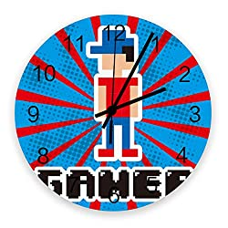 12 Inch Silent Round Wooden Wall Clock Red and Blue Pixel Game Wall Clock, Non Ticking Battery Operated Quartz Home Decor Wall Clocks for Living Room/Kitchen/Office