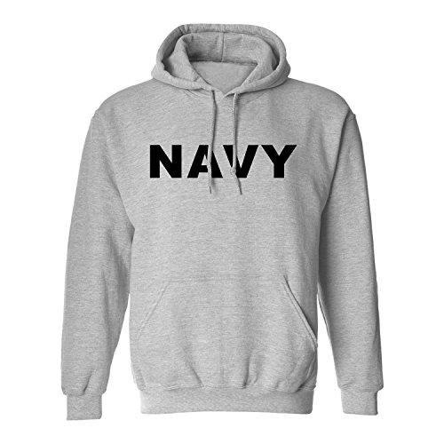 Navy Hooded Sweatshirt in Gray - Large