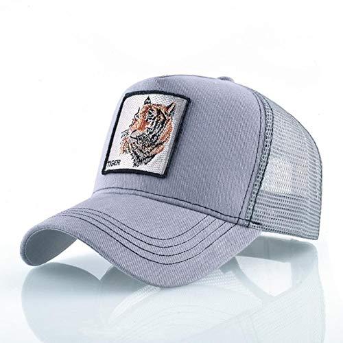 Gorras de béisbol de Moda Hombres Mujeres Snapback Hip Hop Sombrero Verano Malla Transpirable Sun Gorras Unisex Streetwear-Gray Tiger