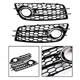 Topteng Fog Light Grill Cover, Right Chrome Honeycomb Fog Light Cover Grille Grills fits for Audi A4 S-LINE (8K2, B8), S4 2008-2012 Only for Sport Version