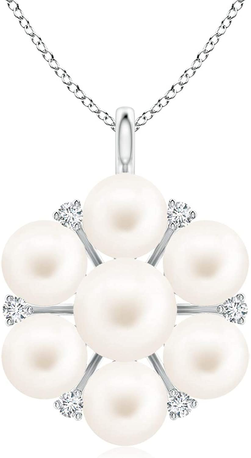 Freshwater Cultured Sales Pearl and Diamond Freshw 5mm price Pendant Flower